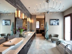 master-bathroom-with-long-bathroom-vanity-cabinet-and-large-mirror-also-unique-modern-chandelier-970x728