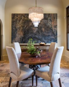 silk-floral-arrangements-for-mediterranean-dining-room-with-breakfast-area